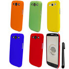 For Samsung Galaxy S3 i9300 T999 Rubberized HARD Case Back Phone Cover + Pen