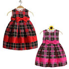 New Girls Kids Toddler Tartan Check Print Dress 2-8 Years