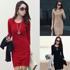 Red Fit Xmas New Women Long Sleeve Crew Neck Slim Casual Mini Dress Sweater Tops