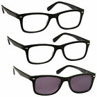 2 x Reading Glasses 1 x Sun Readers 3 Pack Mens Womens Black UVRSR3PK023