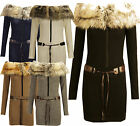 P53 NEW WOMENS LADIES FAUX FUR ZIP UP BELTED JUMPER DRESS IN SIZE 08-14