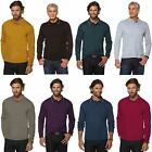 MENS PLAIN COTTON POLO T- SHIRT TOP LONG SLEEVE STRETCHY JERSEY TOPS SIZE S-3XL