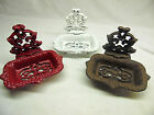 Cast Iron Victorian Style Soap Dish / Business Card Select - White, Red, or Rust