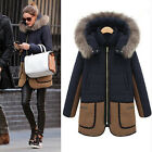 Women Lady's Padded Coat Warm Winter Fur Hooded Parka Overcoat Jacket Outwear