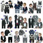 Baby Boy Wedding Christening Christmas Pageant Formal Suit Set, 0 3 6 12 18 24M