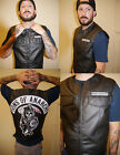 Sons of Anarchy Official Licensed SOA Mens Black Top Rocker Faux Leather Vest