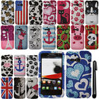 For Alcatel One Touch Evolve 5020T DIAMOND CRYSTAL HARD Case Phone Cover + Pen