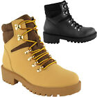 LADIES WOMENS WORKER ARMY COMBAT BIKER FLAT GRIP LACE UP WINTER ANKLE BOOTS SIZE