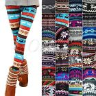 Hot Retro Snowflakes Winter Warm Thick Flower Printed Pants Leggings Trousers
