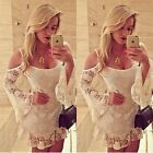New Fashion Women Sexy Off-Shoulder White Lace Dress Flare Sleeve Blouse Tops LA