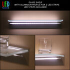 Glass shelf with 2 LED strips, colours, doublelight, frosted 40/60/80cm 12 VOLT