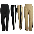 Ladies Womens Woven Crepe Tailored Trouser Pleated Side Panel Slouch Joggers