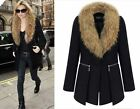 Plus Size Women Girl Wool Blend Faux-fur Collar Trendy Warm Slim Jacket Coat