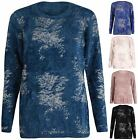 Womens New Silver Lurex Print Ladies Stretch Long Sleeve Knit Fluffy Jumper Top