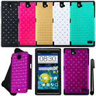 For ZTE Grand X Max Z787 Dazzling HYBRID Rubber HARD Case Phone Cover + Pen