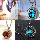 Women/Girl's Moon Blue/coffee Crystal Sweater Chain Ajustable Charm Necklace