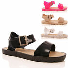 LADIES WOMENS JELLY SANDALS SUMMER BUCKLE CHUNKY WEDGE RETRO RUBBER SHOES SIZE
