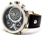 Three Time Zone Mark Naimer Men Watch Leather Band Rose Gold Black,White,Silver
