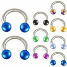 2P Steel horseshoe ring circular piercing bar tragus ring 9CSV-SELECT COLOR&SIZE