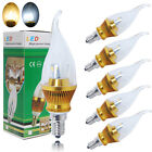 6 x E14 6W SMDs LED Candle Bulbs Candelabra Lamps High Power Warm Day White Gold