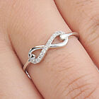 925 Sterling Silver Sideways Endless Love CZ Infinity Love 6 mm Ring Size 3-11