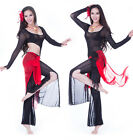 New Belly Dance Costume 3 pics Blouse Top&Hip Scarf Belt Skirt&Pants 8 colors