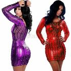 Body Slim Sexy Punk Fishnet Mini Skirt Latex Catsuit Bodysuit Corsetry Clubwear