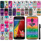 For Motorola Moto G 2014 Cute Design PATTERN HARD Case Back Phone Cover + Pen