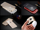 Acrylic Glass Back Cover+Aluminum Metal Arc Bumper Case For iPhone 5S 6 /6 Plus