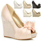 WOMENS WEDDING PLATFORM WEDGE LADIES BRIDAL EVENING PROM SHOES SIZE