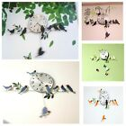 Birds Wall Clock Painting Modern Branch Leaf Hanging Metal Watch Antique Style
