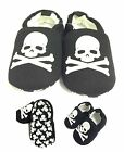 Baby Soft Shoes, Black & White Skull First Crib Cotton 0 6 12 18 Month NEW