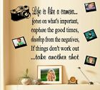 Life is like a Camera Wall Decal 2 sheets 1 wording 2 frames and camera