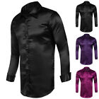 Fashion Mens Silk-Like Satin Dress Shirts Slim Fit Long Sleeve Casual Shirt Tops