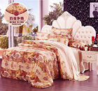 4 pcs Seamless Floral Silk Duvet Cover Fitted Sheet Set Twin~ Cal king