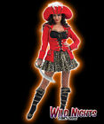 FANCY DRESS COSTUME RED LADIES GLITZY PIRATE SIZES 6-22
