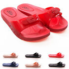 LADIES JELLY MULE SANDALS COMFORT FOOTBED WALKING BEACH HOLIDAY SHOES SIZE