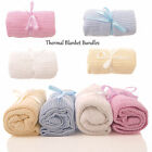 NEW BABY CELLUAR COTTON PRAM COT CRIB MOSES BASKET BLANKET 4 COLOURS 70 X 90 CM