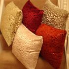 "Set Of 4 Velvet Patterned Cushion Covers 18""x18"" 5 Colours £9.99 set free P&P"