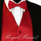 Red Solid Vest Waistcoat and Straight Cut Bow Tie Suit or Tu