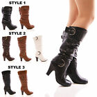 LADIES TRUFFLE SLOUCH BOOTS MID BLOCK HEEL CASUAL BUCKLE FASHION SHOES SIZE