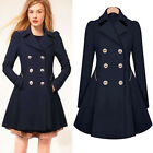 New Woman's Bodycon Double Breasted Lapel Overcoat Warm Trench Parkas Peacoat