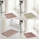 Modern Machine Washable Soft Striped Cotton Bath Mat or Pedestal Toilet Mats