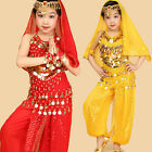 Kids Girls Sequins Belly Dance Costume Outfit 3 Colors 4 Sizes