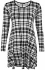 New Womens Black White Check Abstract Print Long Sleeve Ladies Swing Dress 8-14