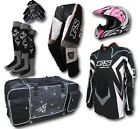 YOUTH MX JERSEY+PANTS+HELMET*AS1698*+GEAR BAG*BLACK*-Motocross/Dirt Bike/Kids