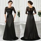 Elegant Lace Sexy Half Sleeve Cocktail Bridesmaid Formal Long Evening Prom Dress