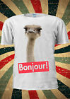 Bonjour Cute Ostrich Funny Tumblr Indie Fashion T Shirt Men Women Unisex 1768