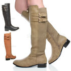 WOMENS LADIES LOW HEEL WINTER ZIP BUCKLE CALF KNEE STITCHED RIDING BOOT SIZE