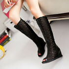 2015 Womens Open Toe Wedge heels Knee high Boots Roma Gladiator Pumps Shoes 10.5